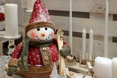 Christmas Decorative Composition With Snowman And Candles Stock Photography