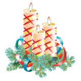 Christmas decorative composition. Three burning wax candles decorated with spruce branch and ribbon. Vector illustration isolated. On white background Stock Photos