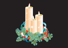 Christmas decorative composition. Three burning wax candles decorated with spruce branch and ribbon. Vector illustration isolated. On black background Stock Image