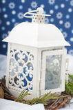 Christmas decorative composition in white and blue Royalty Free Stock Photography