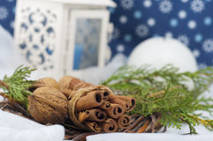 Christmas decorative composition in white and blue Royalty Free Stock Images