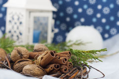 Christmas decorative composition in white and blue Stock Photos