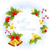 Christmas decorative congratulation card with symbols Royalty Free Stock Photo
