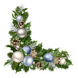 Christmas decorative corner. Christmas decorative corner with blue and silver balls, fir branches, cones, holly and mistletoe stock illustration