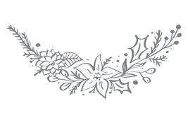 Christmas decorative corner elements design with floral leaves and branches in scandinavian style. Vector handdraw. Illustration for xmas greeting card stock illustration