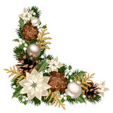 Christmas decorative corner. Vector illustration. Vector Christmas decorative corner with fir branches, silver balls, poinsettia flowers, cones, holly and stock illustration