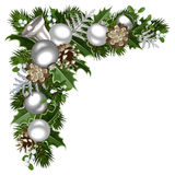 Christmas decorative corner. Vector illustration. Vector Christmas decorative corner with silver balls, fir branches, cones, holly and mistletoe stock illustration