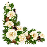 Christmas decorative corner. Christmas decorative corner with white roses, fir branches, cones, holly and mistletoe stock illustration