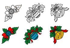 Christmas decorative corners set Stock Photo