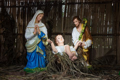 Christmas decorative creche with Holy family Stock Photography