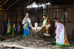Christmas decorative creche with Holy family and the wise men Royalty Free Stock Photography
