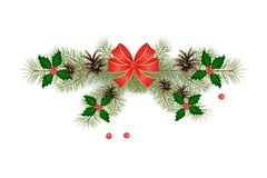 Christmas decorative element. Branches of holly with berries royalty free illustration