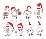 Christmas decorative elements. Artistic work. Ink on paper Royalty Free Stock Photo
