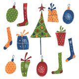 Christmas decorative elements. Artistic work. Acrylic colours on paper Royalty Free Stock Photography