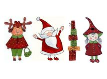 Christmas decorative elements. Artistic work. Watercolours on paper Stock Photos