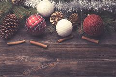 Christmas decorative elements. On a wooden table royalty free stock photos