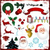Christmas decorative elements collection Royalty Free Stock Photos