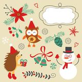 Christmas decorative elements and icons Stock Photos