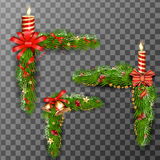 Christmas decorative elements isolated on transparent background. Vector illustration. Stock Photo