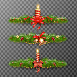 Christmas decorative elements isolated on transparent background. Vector illustration. Royalty Free Stock Photo