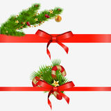 Christmas decorative elements with red bows.  illustration Stock Photography