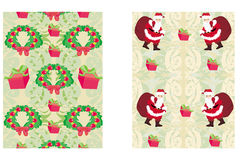 Christmas decorative elements and reindeer,santa and gifts Royalty Free Stock Image