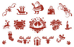 Christmas decorative elements set Royalty Free Stock Images