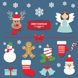 Christmas decorative elements and stickers set. Vector illustration royalty free illustration