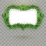 Christmas decorative fir tree frame with copy space and shadow. EPS 10 stock illustration