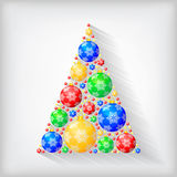Christmas decorative fir tree of multicolor balls. Vector illustrations of Christmas greeting card with stylized fir tree of multicolor balls decorated Stock Photography