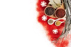 Christmas decorative food border of red chili pepper powder and dry seasoning in wooden bowls. Stock Photos