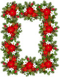 Christmas decorative frame. Vector illustration of Christmas decorative frame with poinsettia, fir-tree, cones, holly, and mistletoe Royalty Free Stock Photos