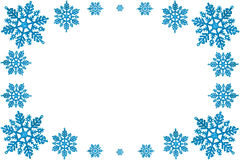 Christmas decorative frame of blue snowflakes. Royalty Free Stock Photo