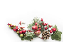 Christmas decorative frame  over white background Royalty Free Stock Photography
