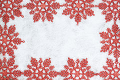 Christmas decorative frame with snowflakes. Stock Photo