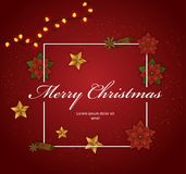 Christmas decorative frame. With stars, flowers, lights Stock Image