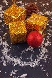 Christmas decorative gift box, ball Royalty Free Stock Image
