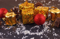 Christmas decorative gift box, ball Royalty Free Stock Images
