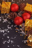 Christmas decorative gift box, ball Royalty Free Stock Photography
