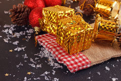 Christmas decorative gift box, ball and drum Royalty Free Stock Photos