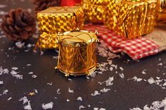 Christmas decorative gift box, ball and drum Royalty Free Stock Image