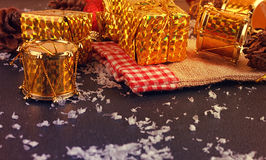 Christmas decorative gift box, ball and drum Royalty Free Stock Photography