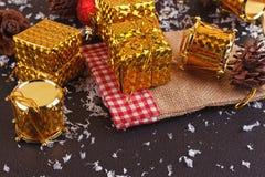 Christmas decorative gift box, ball and drum Stock Image