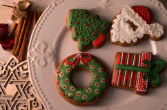 Christmas decorative gingerbread. Christmas gingerbread placed on table Stock Image