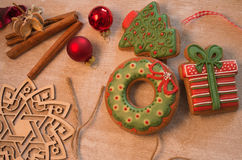 Christmas decorative gingerbread. Christmas gingerbread placed on table Royalty Free Stock Photography