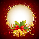 Christmas decorative golden congratulation card with symbols. Holly leaves, bells and stars on sparkling background Stock Images