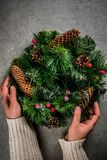 Christmas decorative green wreath Royalty Free Stock Images