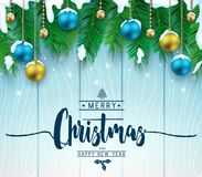 Christmas Decorative Greeting Poster in Blue Wooden Background. With Falling Snowflakes, Hanging Christmas Balls and Pine Leaves For Holiday Season. Vector royalty free illustration