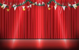 Christmas decorative hanging on red curtain stage. A christmas decorative hanging on red curtain stage royalty free illustration
