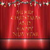 Christmas decorative hanging on red curtain stage. A christmas decorative hanging on red curtain stage vector illustration